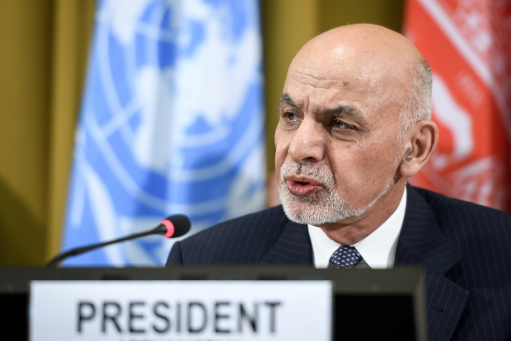 Afghan president Ashraf Ghani delivers a speech during the United Nations Conference on Afghanistan at the UN Offices in Geneva, Switzerland, Wednesday, Nov. 28, 2018. (Fabrice Coffrini/pool photo via AP)