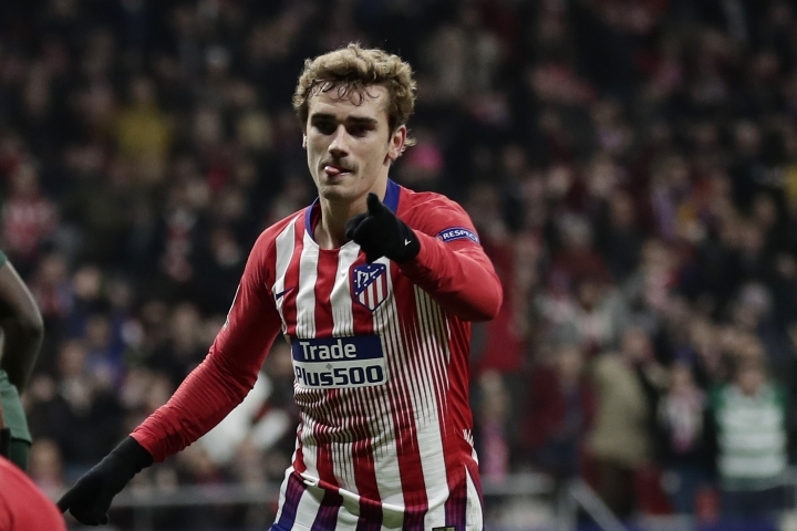 Atletico forward Antoine Griezmann after scoring his side's second goal during a Group A Champions League soccer match between Atletico Madrid and Monaco at the Metropolitano stadium in Madrid, Wednesday, Nov. 28, 2018. (AP Photo/Manu Fernandez)