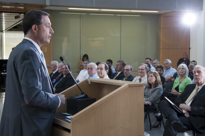 In this June 22, 2016 photo made available by the U.S. Food and Drug Administration, Dr. Jeffrey Shuren, the FDA's Director of the Center for Devices and Radiological Health, speaks at FDA's Celebration of the 40th Anniversary of the Medical Device Amendments. Under Shuren, new device approvals have more than tripled, while warnings to device manufacturers about product safety and quality have fallen roughly 80 percent, an Associated Press investigation found. (Michael J. Ermarth/FDA via AP)