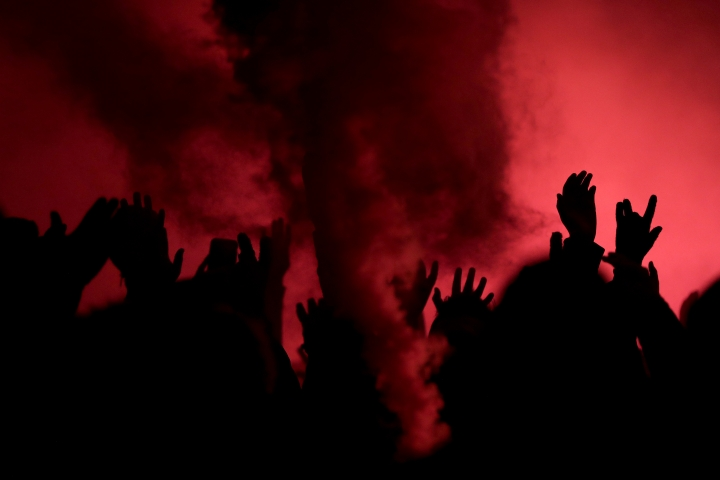 New York Red Bulls fans rally prior to the second leg of the team's MLS soccer Eastern Conference final against Atlanta United, Thursday, Nov. 29, 2018, in Harrison, N.J. (AP Photo/Julio Cortez)