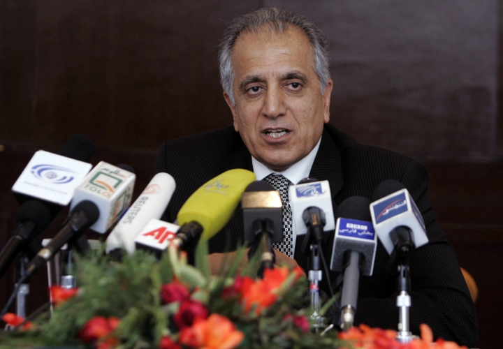 FILE - In this March 13, 2009, file photo, Zalmay Khalilzad, special adviser on reconciliation speaks during a news conference in Kabul, Afghanistan. The U.S. special envoy tasked with finding a negotiated end to Afghanistan's 17-year old war has arrived in Islamabad, Tuesday, Dec. 4, 2018 for talks with the country's political and military leadership. (AP Photo/Rafiq Maqbool)