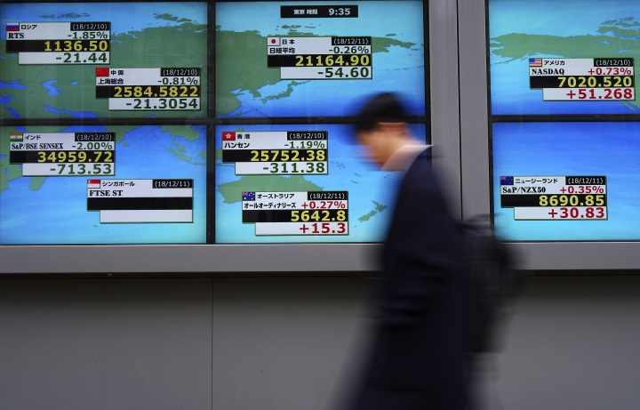 A man walks past an electronic stock board showing Japan's Nikkei 225 and other country's index at a securities firm in Tokyo Tuesday, Dec. 11, 2018. Asian markets were mixed Tuesday in narrow trading on doubts that U.S. and China would be able to resolve a crippling trade dispute and weak economic data closer to home. (AP Photo/Eugene Hoshiko)