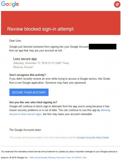 This image shows a Saturday, Nov. 17, 2018 phishing message sent to Jim Sisco of the Virginia-based risk advisory firm Enodo Global, Inc. The email was allegedly sent by the hacking group known as Charming Kitten whose spying campaign closely aligns with Iran's interests. The email address of the recipient has been redacted to protect his privacy. (AP Photo)