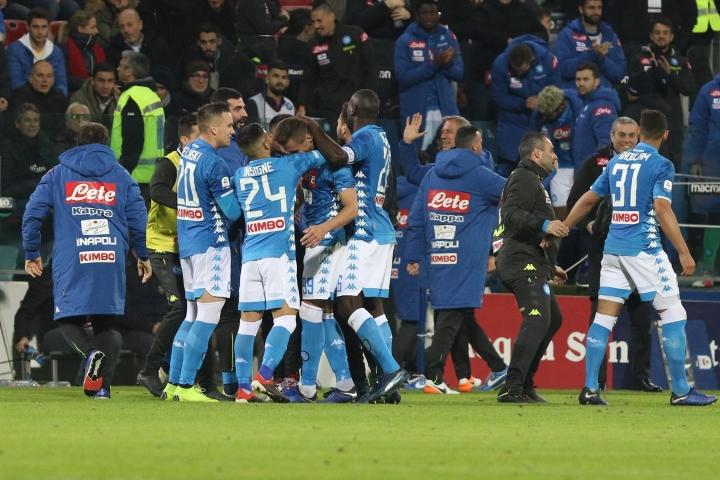 Napoli players celebrates victory at the end of the Italian Serie A soccer match between Cagliari and Napoli at the Sardegna Arena stadium in Cagliari, Italy, Sunday, Dec. 16, 2018. (Fabio Murru/ANSA via AP)
