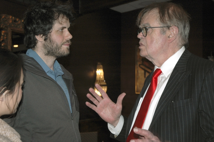 "In this Sunday, Dec. 16, 2018, former ""A Prairie Home Companion"" host Garrison Keillor, right, talks to fans after his performances at Crooners lounge in Fridley, Minn. Keillor is stepping back into the spotlight a year after Minnesota Public Radio cut ties with him over a sexual misconduct allegation. Keillor performed two sold-out shows Sunday night at Crooners, a jazz nightclub in a Minneapolis suburb near where he grew up. Fans laughed, applauded and sang along. (AP Photo/Jeff Baenen)"