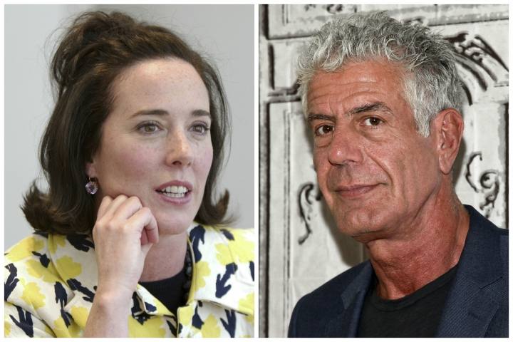 This combination of 2004 and 2016 file photos shows fashion designer Kate Spade and TV personality chef Anthony Bourdain in New York. Spade was found dead in an apparent suicide in her New York City apartment on June 5 and Bourdain has been found dead in his hotel room in an apparent suicide in France on June 8. (AP Photo/Bebeto Matthews, Andy Kropa/Invision)