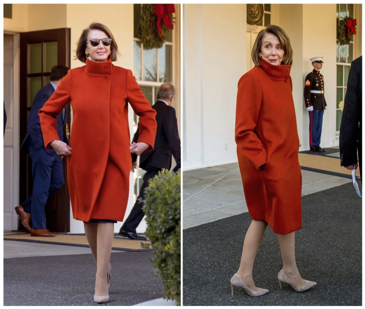 This combination photo shows House Minority Leader Nancy Pelosi wearing a Max Mara coat outside of the West Wing at the White House in Washington following a meeting with President Donald Trump about funding the border wall between the U.S. and Mexico. (AP Photo/Andrew Harnik)