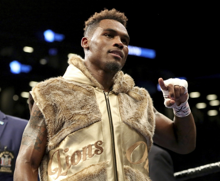 FILE - In this April 22, 2017, file photo, Jermell Charlo reacts after defeating Charles Hatley in a WBC World super welterweight title fight in Brooklyn, N.Y. Jermell Charlo will go against Tony Harrison at Barclays Center on Saturday night, Dec. 22, 2018. His identical twin Jermall will take on Matt Korobov. (AP Photo/Gregory Payan, File)