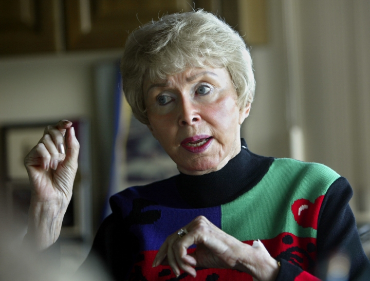 In this Feb. 4, 2004 file photo, Audrey Geisel, widow of Dr. Seuss creator Theodor Geisel, appears during an interview at her home in the La Jolla area of San Diego. Geisel died peacefully at home on Wednesday, Dec. 19, 2018, at age 97. (AP Photo/Lenny Ignelzi, File)