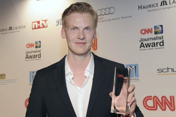 The journalist Claas Relotius poses during an award ceremony in Munich, Germany, March 27, 2014. The German journalist who was found to have made up information for numerous published articles may be charged for allegedly soliciting donations for Syrian orphans from his readers. (Ursula Dueren/dpa via AP)
