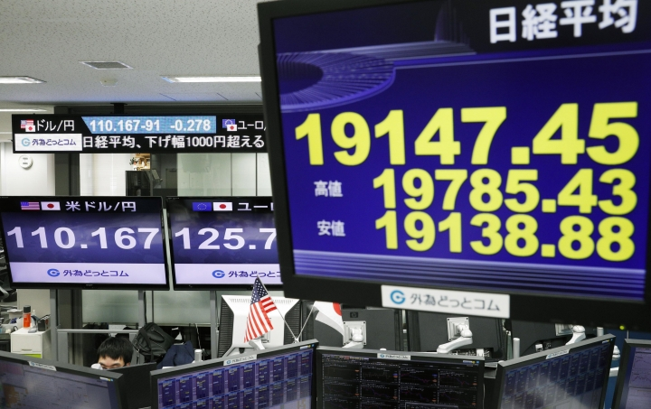Monitors show Nikkei stock index, right, and the exchange rate between Japan's yen and U.S. dollar, left, at a foreign exchange trader's company in Tokyo, Monday, Dec. 25, 2018. Japan's main stock index has plunged following heavy Wall Street losses triggered by President Donald Trump's Christmas Eve criticism of the Federal Reserve. (Suo Takekuma/Kyodo News via AP)