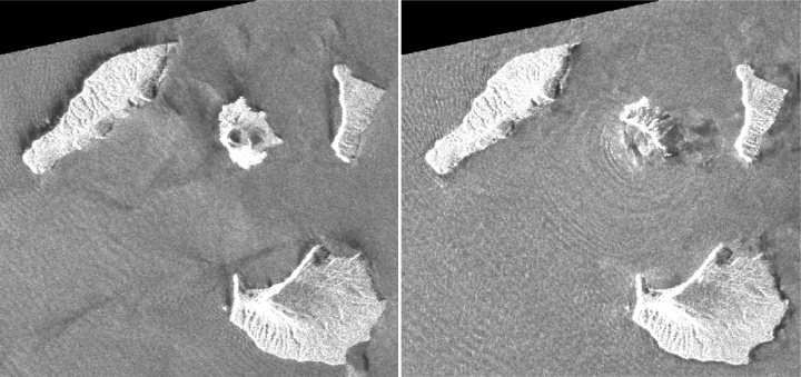 This combination of synthetic aperture radar images taken by JAXA's ALOS-2 satellite and analyzed by Geospatial Information Authority of Japan shows Indonesia's Anak Krakatau volcano, center in images, before and after the Dec. 22, 2018, eruption. The images were taken on Aug. 20, 2018, left, and on Dec. 24, 2018, right, respectively. The satellite imagery showed a deformation on the volcano's southwest side.(Geospatial Information Authority of Japan via AP)