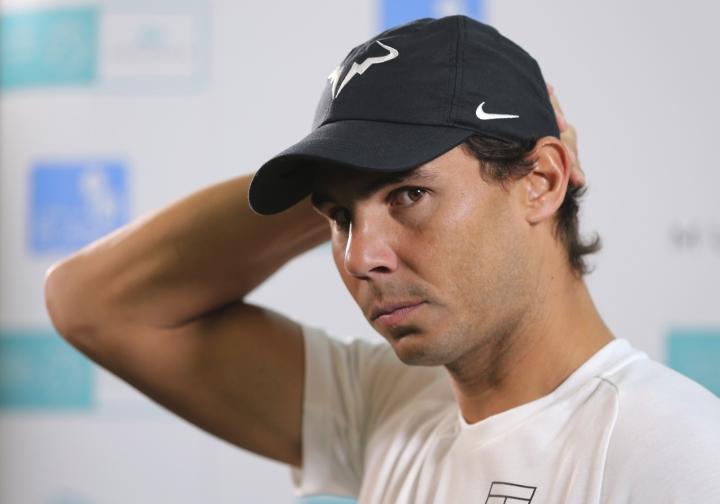 Rafael Nadal of Spain talks to journalists on the opening day of the Mubadala World Tennis Championship in Abu Dhabi, United Arab Emirates, Thursday, Dec. 27, 2018. (AP Photo/Kamran Jebreili)