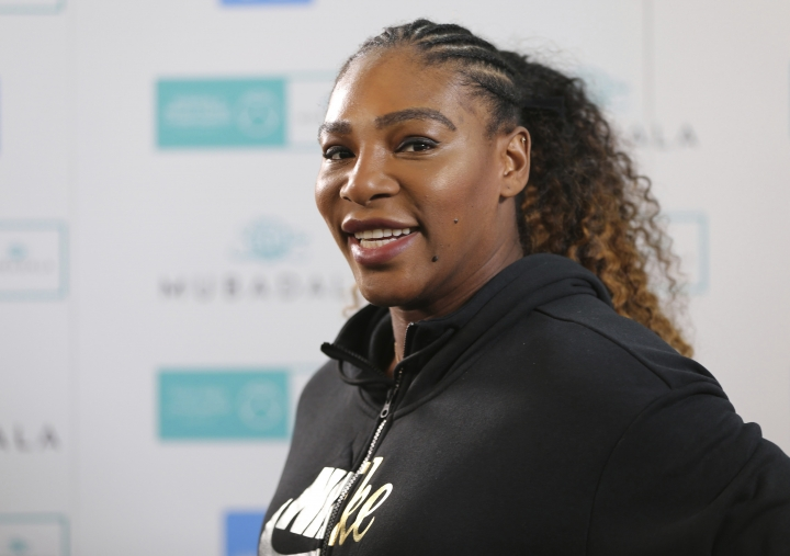 Serena Williams of the U.S. talks to journalists on the opening day of the Mubadala World Tennis Championship in Abu Dhabi, United Arab Emirates, Thursday, Dec. 27, 2018. (AP Photo/Kamran Jebreili)