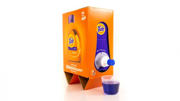 This undated image provided by P&G shows the Tide Eco-Box. Tide and Seventh Generation have introduced redesigned laundry detergents that are several pounds lighter by cutting down on plastic in their packaging and using less water in their formulas. (P&G via AP)