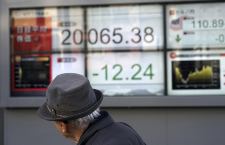 A man walks past an electronic stock board showing Japan's Nikkei 225 index at a securities firm in Tokyo Friday, Dec. 28, 2018. Most Asian stock markets gained while Japan edged down following Wall Street's rally at the end of a turbulent week. (AP Photo/Eugene Hoshiko)