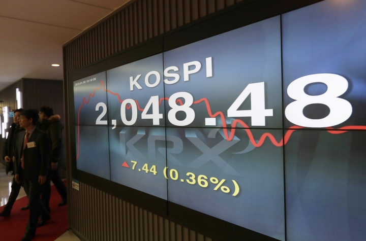 Participants leave after attending the 2019 trading year opening ceremony near the screen showing the Korea Composite Stock Price Index (KOSPI) at the Korea Exchange in Seoul, South Korea, Wednesday, Jan. 2, 2019. Asian stock markets have fallen as trading began for 2019 after Chinese factory activity weakened. Benchmarks in Shanghai, Seoul and Hong Kong all declined, while Tokyo was closed. (AP Photo/Lee Jin-man)