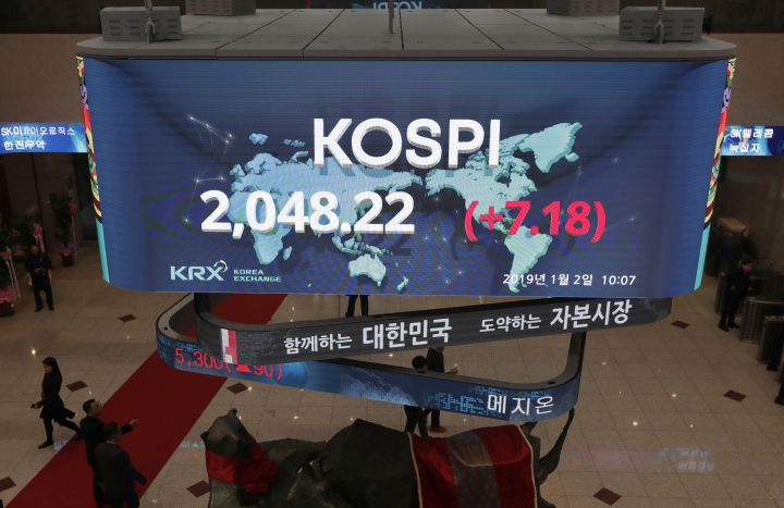 A huge screen showing the Korea Composite Stock Price Index (KOSPI) is seen at the Korea Exchange in Seoul, South Korea, Wednesday, Jan. 2, 2019. Asian stock markets have fallen as trading began for 2019 after Chinese factory activity weakened. Benchmarks in Shanghai, Seoul and Hong Kong all declined, while Tokyo was closed. (AP Photo/Lee Jin-man)