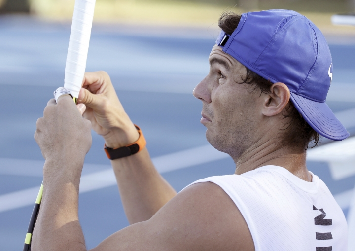 Raphael Nadal of Spain during a training session at the Brisbane International tennis tournament in Brisbane, Australia, Wednesday, Jan. 2, 2019. (AP Photo/Tertius Pickard)