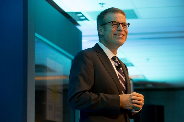 In this May 7, 2014 photo, Blake Nordstrom, co-president of Nordstrom, Inc. talks during the Nordstrom annual shareholders meeting in downtown Seattle. Nordstrom, who led the upscale department store chain with his brothers Erik and Peter, has died. He was 58. The Seattle-based company did not disclose the cause of death, saying Nordstrom passed away unexpectedly early Wednesday, Jan. 2, 2019. (Erika Schultz/The Seattle Times via AP)