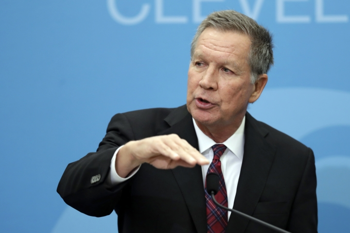 FILE - In this Dec. 4, 2018, file photo Ohio Gov. John Kasich speaks at The City Club of Cleveland, in Cleveland. Those allied with President Donald Trump are worried that a primary challenge from a high-profile Republican in the coming months could hurt Trump's re-election. (AP Photo/Tony Dejak, File)