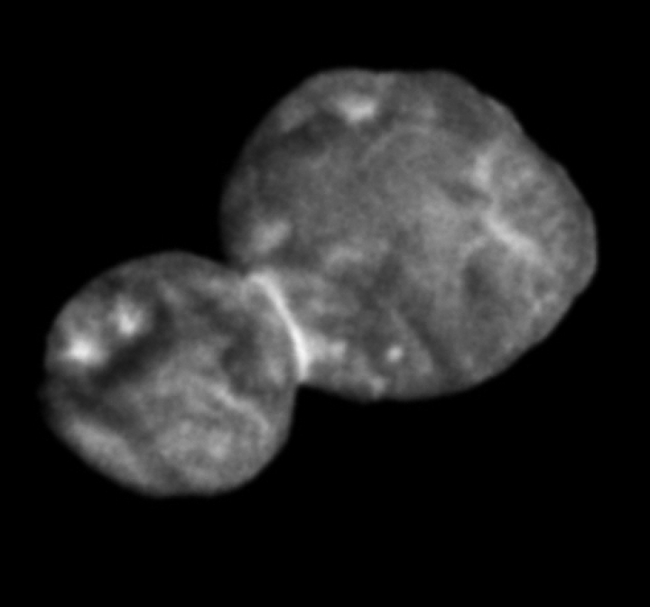 This Tuesday, Jan. 1, 2019 image made available by NASA shows the Kuiper belt object Ultima Thule, about 1 billion miles beyond Pluto, encountered by the New Horizons spacecraft. (NASA via AP)