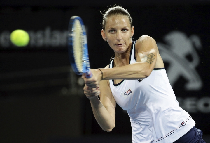 Karolina Pliskova of the Czech Republic plays a shot during her quarter final match against Ajla Tomljanovic of Australia at the Brisbane International tennis tournament in Brisbane, Australia, Friday, Jan. 4, 2019. (AP Photo/Tertius Pickard)