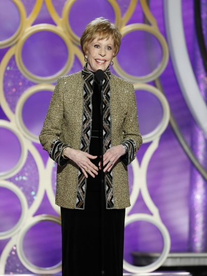 This image released by NBC shows Carol Burnett accepting the inaugural Carol Burnett TV Achievement Award during the 76th Annual Golden Globe Awards at the Beverly Hilton Hotel on Sunday, Jan. 6, 2019 in Beverly Hills, Calif. (Paul Drinkwater/NBC via AP)