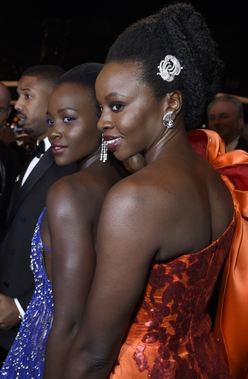 Lupita Nyong'o, left, and Danai Gurira attend the 76th annual Golden Globe Awards at the Beverly Hilton Hotel on Sunday, Jan. 6, 2019, in Beverly Hills, Calif. (Photo by Chris Pizzello/Invision/AP)