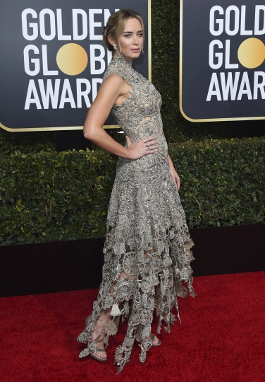 Emily Blunt arrives at the 76th annual Golden Globe Awards at the Beverly Hilton Hotel on Sunday, Jan. 6, 2019, in Beverly Hills, Calif. (Photo by Jordan Strauss/Invision/AP)