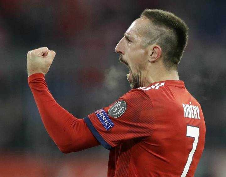 FILE--- In this picture taken Nov.27, 2018 Bayern midfielder Franck Ribery celebrates after scoring his side's fifth goal during the Champions League group E soccer match between FC Bayern Munich and Benfica Lisbon in Munich, Germany. (AP Photo/Matthias Schrader)