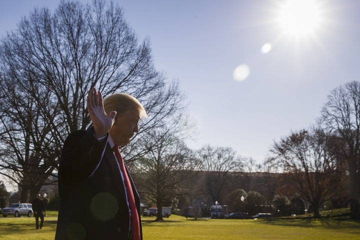President Donald Trump waves as he departs after speaking on the South Lawn of the White House as he walks to Marine One, Sunday, Jan. 6, 2019, in Washington. Trump is en route to Camp David. (AP Photo/Alex Brandon)