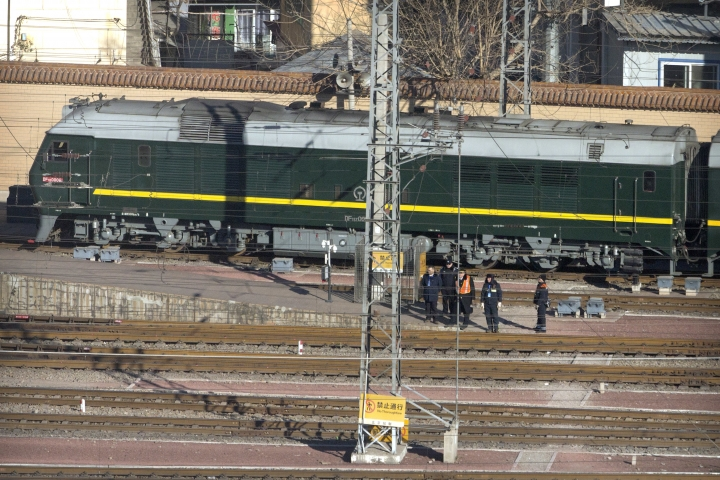 A train similar to one seen during previous visits by North Korean leader Kim Jong Un arrives at Beijing Railway Station in Beijing, Tuesday, Jan. 8, 2019. Kim is making a four-day trip to China, the North's state media reported Tuesday, in what's likely an effort by Kim to coordinate with his only major ally ahead of a summit with U.S. President Donald Trump that could happen early this year. (AP Photo/Mark Schiefelbein)