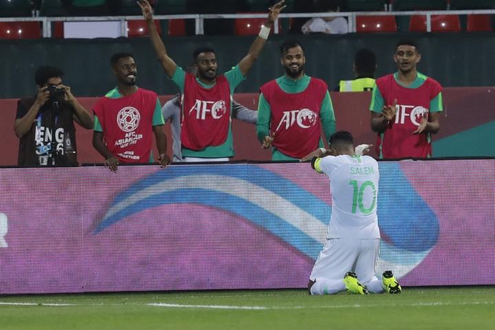 Saudi Arabia's midfielder Salem al Dawsari celebrates his goal during the AFC Asian Cup group E soccer match between Saudi Arabia and North Korea at the Rashid Stadium in Dubai, United Arab Emirates, Tuesday, Jan. 8, 2019. (AP Photo/Nariman El-Mofty)