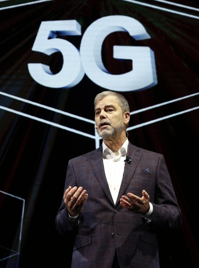 David VanderWaal, vice president of marketing for LG Electronics USA, speaks about 5G during an LG news conference at CES International, Monday, Jan. 7, 2019, in Las Vegas. (AP Photo/John Locher)