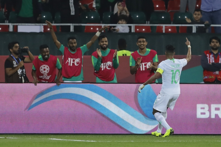 Saudi Arabia's midfielder Salem al Dawsari celebrates his goal during the AFC Asian Cup group E soccer match between Saudi Arabia and North Korea at the Rashid Stadium in Dubai, United Arab Emirates, Tuesday, Jan. 8, 2019. (AP Photo/Nariman El-Mofty)