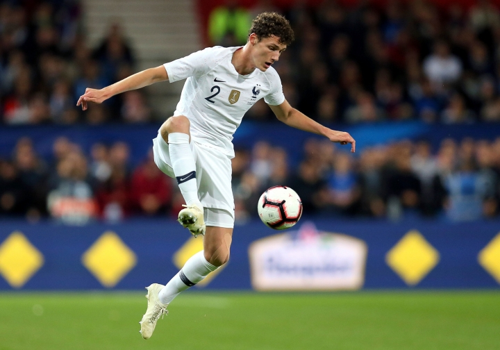 FILE -- In this Thursday, Oct. 11, 2018 photo France's Benjamin Pavard controls the ball during a friendly soccer match between France and Iceland, in Guingamp, western France. German Bundesliga soccer team FC Bayern Munich has signed France defender Benjamin Pavard from Bundesliga rival Stuttgart for next season. (AP Photo/David Vincent, file)