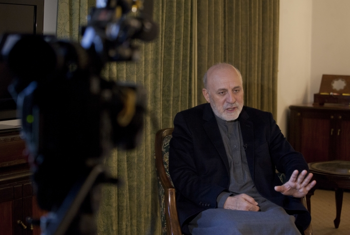 Afghan president's special peace envoy Mohammad Omer Daudzai speaks during an interview with The Associated Press in Islamabad, Pakistan, on Wednesday, Jan. 9, 2019. Daudzai expressed his hope Tuesday, that the war which has ravaged Afghanistan for over 17-years and cost the United States an estimated one trillion dollars will end in 2019. (AP Photo/Anjum Naveed)