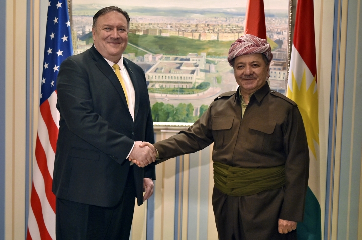Secretary of State Mike Pompeo, left, meets with Massud Barzani leader of the Kurdistan Democratic Party (KDP) in the province's capital, during a Middle East tour, Wednesday, Jan. 9, 2019 in Erbil, Iraq. (Andrew Caballero-Reynolds/Pool Photo via AP)