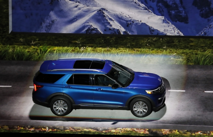 The 2020 Ford Explorer is unveiled, Wednesday, Jan. 9, 2019, in Detroit. Detroit. Ford's aging Explorer big SUV is getting a major revamp as it faces growing competition in the market for family haulers with three rows of seats. (AP Photo/Carlos Osorio)