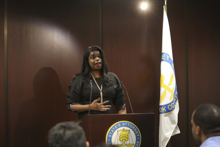 Chicago prosecutor Kim Foxx has asked any possible victims or witnesses of alleged abuse by singer R. Kelly to contact her office Tuesday, Jan. 9, 2019, in Chicago. The Cook County State's Attorney spoke to reporters Tuesday after watching a recent Lifetime documentary examining a history of abuse allegations against the R&B star. Kelly, who turned 52 on Tuesday, has denied wrongdoing. (AP Photo/Teresa Crawford)