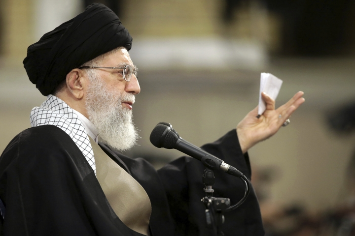 """In this picture released by an official website of the office of the Iranian supreme leader, Supreme Leader Ayatollah Ali Khamenei speaks at a meeting in Tehran, Iran, Wednesday, Jan. 9, 2019. Khamenei called U.S. officials """"first-class idiots,"""" mocking American leaders as U.S. Secretary of State Mike Pompeo tours the Mideast. (Office of the Iranian Supreme Leader via AP)"""