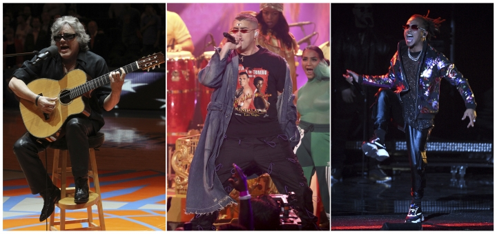 """This combination photo shows Puerto Rican natives, Jose Feliciano, from left, Bad Bunny and Ozuna who will appear with host Jimmy Fallon on """"The Tonight Show Starring Jimmy Fallon,"""" during a broadcast of the show from Puerto Rico, airing on Tuesday. (AP Photo)"""