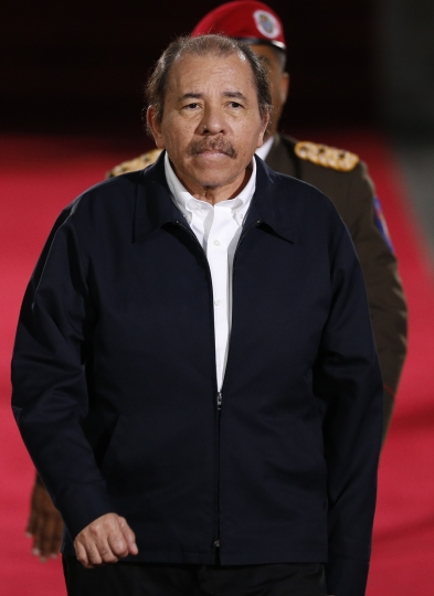Nicaragua's President Daniel Ortega arrives to the Supreme Court for the inauguration ceremony of Venezuelan President Nicolas Maduro in Caracas, Venezuela, Thursday, Jan. 10, 2019. Maduro will be sworn in to a second term amid international calls for him to step down and a devastating economic crisis, but with some long-time friends in attendance both from abroad and at home. (AP Photo/Ariana Cubillos)