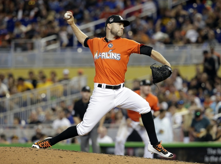 FILE - In this April 30, 2017, file photo, Miami Marlins relief pitcher David Phelps throws during the team's baseball game against the Pittsburgh Pirates in Miami. A person familiar with the negotiations tells The Associated Press that right-hander Phelps and the Toronto Blue Jays have agreed to a $2.5 million, one-year contract. The person spoke on condition of anonymity Thursday night, Jan. 10, 2019, because the deal had not yet been announced. (AP Photo/Lynne Sladky, File)