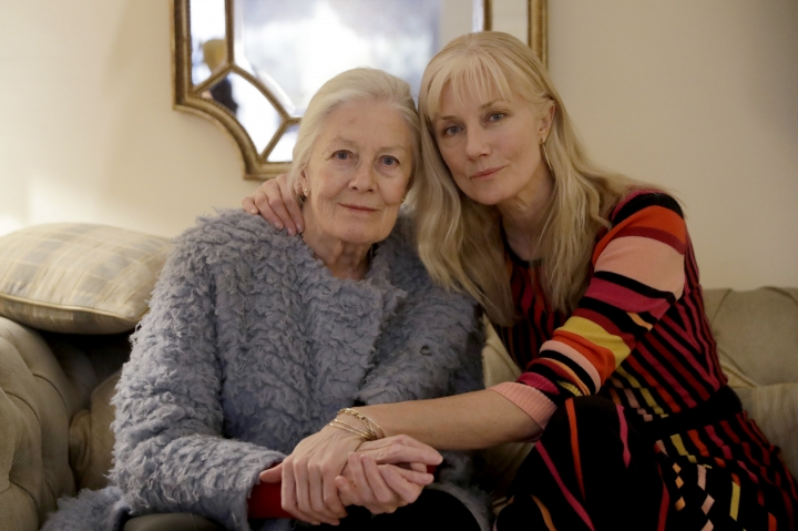 "British actresses Vanessa Redgrave and her daughter Joely Richardson pose for portrait photographs before an interview with The Associated Press in London, Tuesday, Jan. 8, 2019. Vanessa Redgrave first saw ""The Aspern Papers"" as a child, when her famous father adapted it from a Henry James novella and played the male lead. Decades later, Vanessa Redgrave acted the role of Miss Tina on stage, now she is playing the forbidding grande dame Juliana Bordereau in a movie version, this time with her daughter Joely Richardson cast in the younger woman's role. (AP Photo/Matt Dunham)"