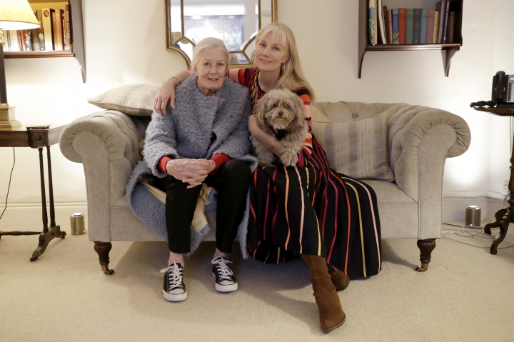 "British actresses Vanessa Redgrave, her dog Zep, and her daughter Joely Richardson pose for portrait photographs before an interview with The Associated Press in London, Tuesday, Jan. 8, 2019. Vanessa Redgrave first saw ""The Aspern Papers"" as a child, when her famous father adapted it from a Henry James novella and played the male lead. Decades later, Vanessa Redgrave acted the role of Miss Tina on stage, now she is playing the forbidding grande dame Juliana Bordereau in a movie version, this time with her daughter Joely Richardson cast in the younger woman's role. (AP Photo/Matt Dunham)"