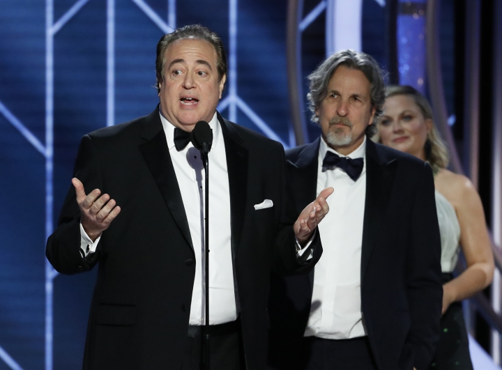 "FILE - In this Jan. 6, 2019 file image released by NBC, Nick Vallelonga accepts the award for best screenplay for ""Green Book"" during the 76th annual Golden Globe Awards at the Beverly Hilton Hotel in Beverly Hills, Calif. Vallelonga apologized Thursday, Jan. 10 for a 2015 tweet about Muslims and 9/11 that has resurfaced. In the tweet, he said then-presidential-candidate Donald Trump was correct that television news on 9/11 showed Muslims in Jersey City cheering and he had seen it. There's no evidence such celebrations occurred.(Paul Drinkwater/NBC via AP, File)"