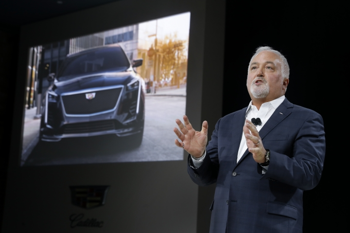 Steve Carlisle, president, Cadillac, speaks during the unveiling of the three-row Cadillac XT6 crossover SUV during media previews for the North American International Auto Show in Detroit, Sunday, Jan. 13, 2019. (AP Photo/Paul Sancya)