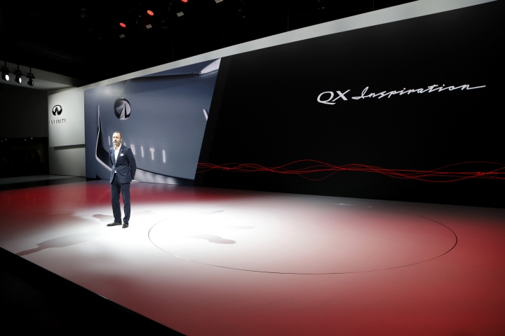 Karim Habib, Executive director of design for Infiniti Motor Co., talks about the QX Inspiration concept, Monday, Jan. 14, 2019, at the North American International Auto Show in Detroit. No matter how much you rehearse, sometimes the elaborate product announcements at auto shows don't go as planned. On Monday morning, a temperamental Infiniti electric concept car wouldn't run and couldn't make it on stage for the Nissan luxury brand's press conference. (AP Photo/Carlos Osorio)